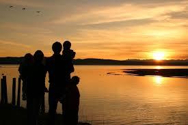 por do sol família
